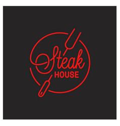 steak house logo round linear logo tool vector image