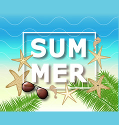 Summer background with with starfish and vector
