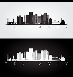 Tel aviv skyline and landmarks silhouette vector