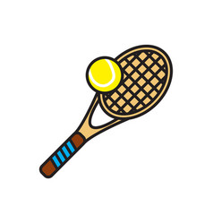 Tennis color outline icon on white background for vector