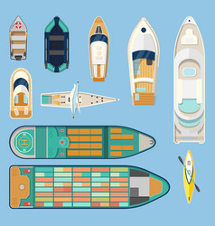 top view on isolated boats or ships vector image
