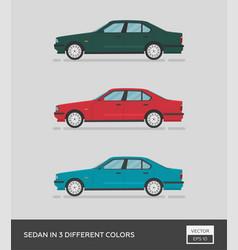 Urban vehicle sedan in 3 different colors vector