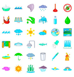 water supply icons set cartoon style vector image