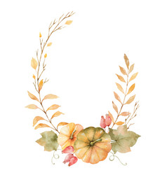 Watercolor autumn wreath leaves vector