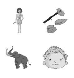 Weapon hammer elephant mammoth stone age set vector
