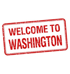 welcome to Washington red grunge square stamp vector image