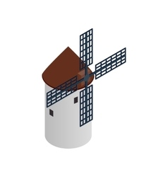 Windmill icon isometric 3d style vector image