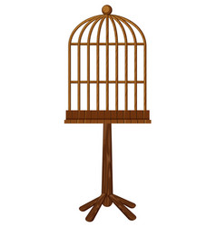 wooden bird cage on stand vector image