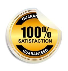 100 satisfaction label stickers vector image