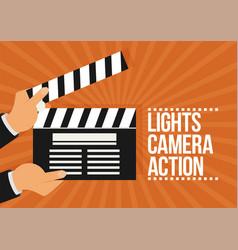 Cinema lights camera action flat vector
