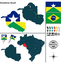 Map of Rondonia vector image vector image