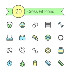 Set of crossfit gym equipment color line icons of vector image