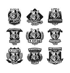Set of monochrome logos emblems knight in helmet vector