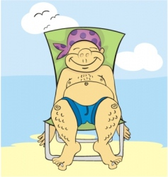 Tanning in chair vector