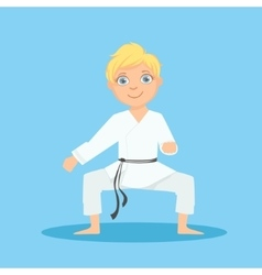 Boy In White Kimono In Defensive Stance On Karate vector image