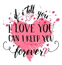 Brush calligraphic love quote card vector image