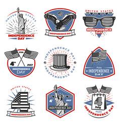 Colored vintage independence day emblems set vector