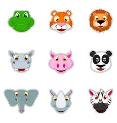 cute animal head icon vector image vector image