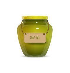 glass jam jar on white background vector image