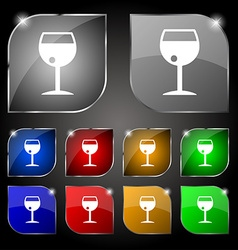 Glass of wine icon sign set of ten colorful vector