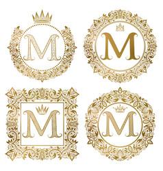 golden letter m vintage monograms set heraldic vector image vector image
