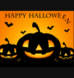 happy halloween card with jack-o-lantern vector image