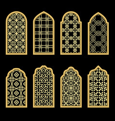 traditional gold arabic window vector image vector image