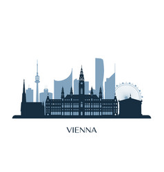 vienna skyline monochrome silhouette vector image