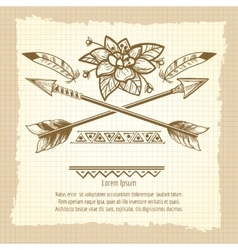 Vintage poster with arrows and flower vector image