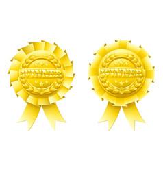 Gold winner rosettes vector