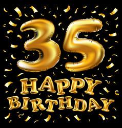 golden number 35 thirty five metallic balloon vector image vector image