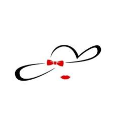 Woman elegant hat silhouette logo Glamorous vector image vector image