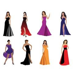 woman in beautiful dress vector image vector image
