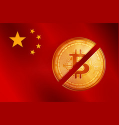 crossed out golden bitcoin coin symbol on the vector image