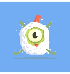 Green One-eyed Monster Trapped In Snowball vector image vector image