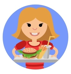 Young girl with fast food in his hands vector image vector image