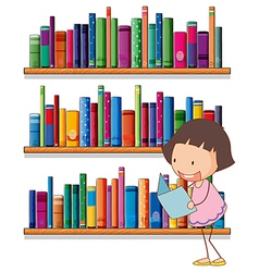 A smiling young girl reading in front of the vector image vector image