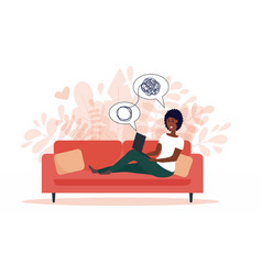 african american woman sitting on sofa with laptop vector image