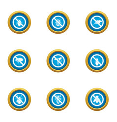 against icons set flat style vector image