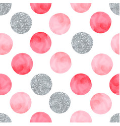 aquarelle pink seamless pattern with dots and vector image