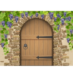 Arch stone grapes and wooden door vector