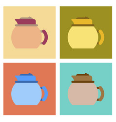 Assembly flat icons coffee dishware kettle vector