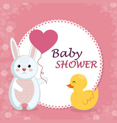 Baby shower card with cute rabbit and duck vector