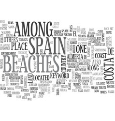 Beaches in spain text word cloud concept vector