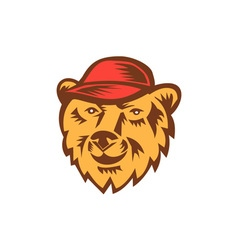 Bear Head Wearing Hat Woodcut vector