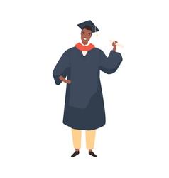 Black skin male graduate student demonstrate vector