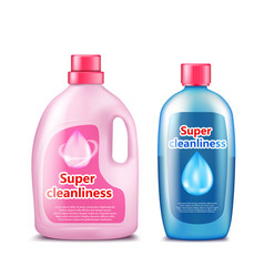 Branded household chemicals plastic bottles vector