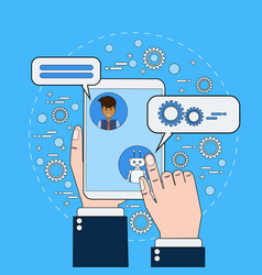 business man chatting with chatbot holding digital vector image