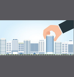 Businessman select to holding modern building vector