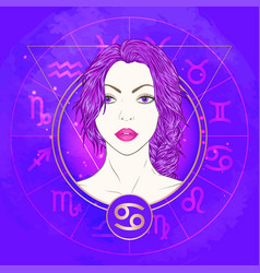Cancer zodiac sign and portrait vector
